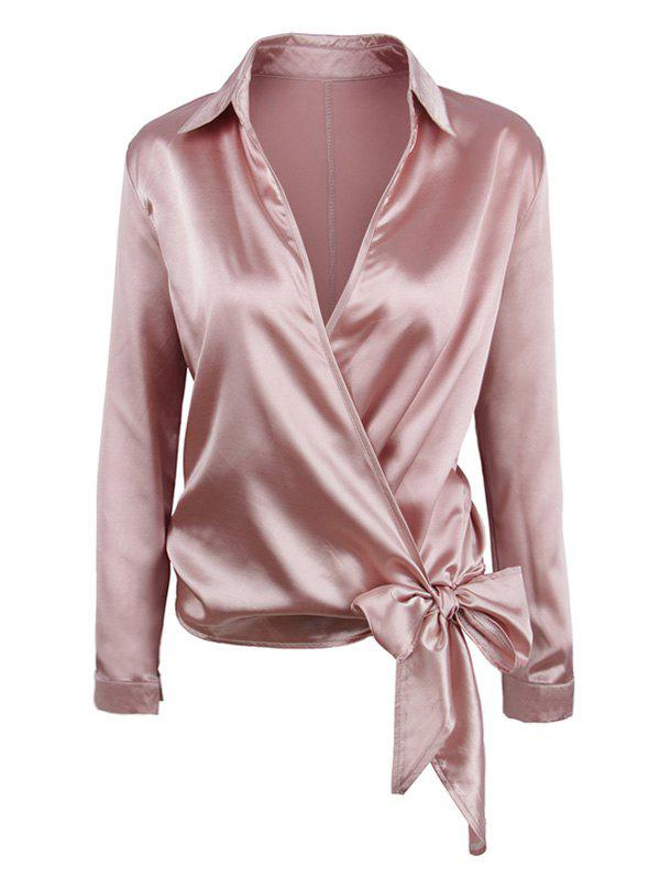 Outfit Knotted Surplice Satin Long Sleeves Blouse