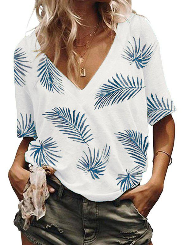 Shops Leaves Print V Neck Casual Tee