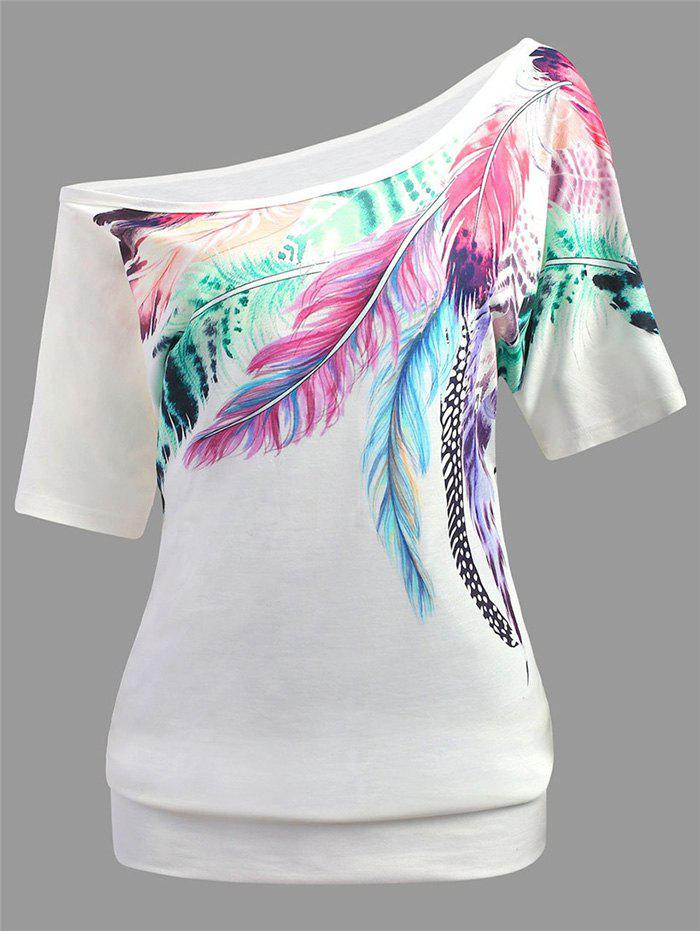 Hot Feather Print Skew Neck Casual Tee