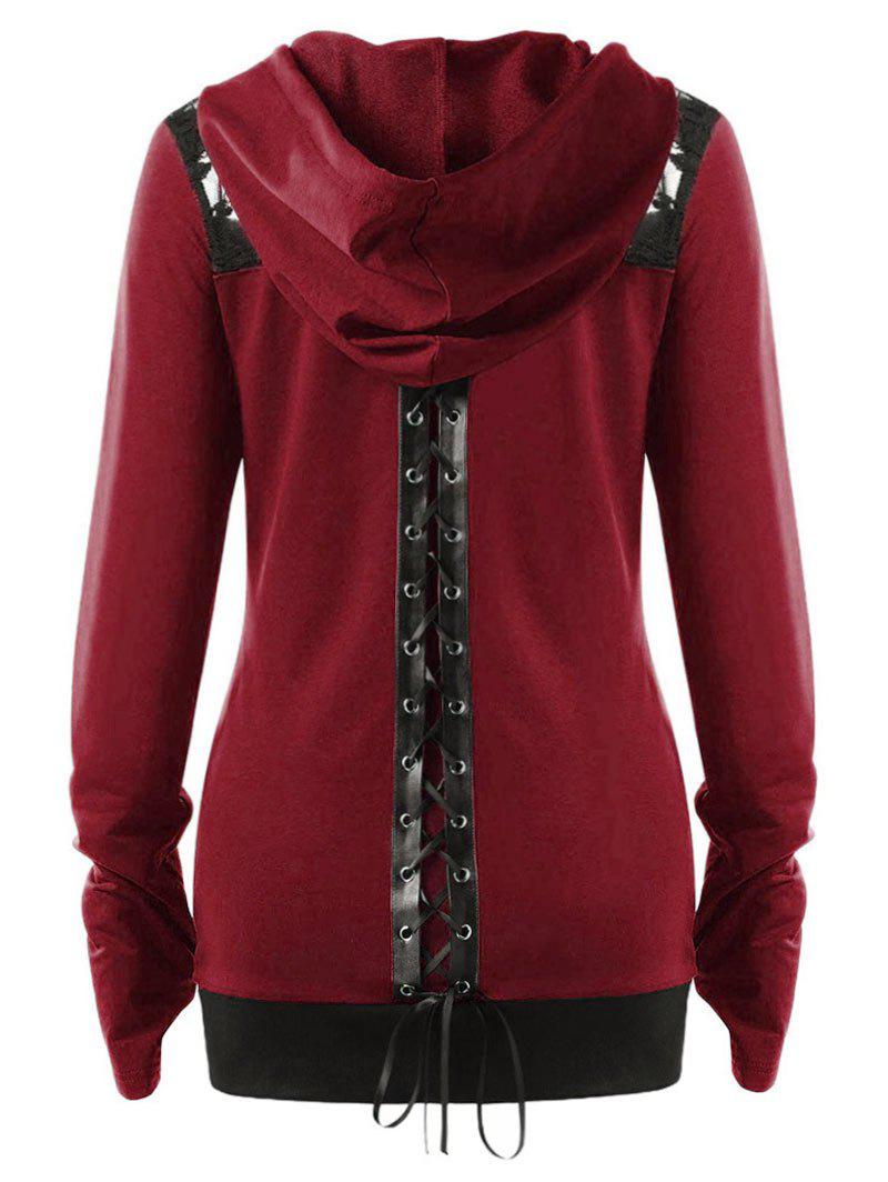 Shop Plus Size Lace Up Gothic Zip Up Hoodie