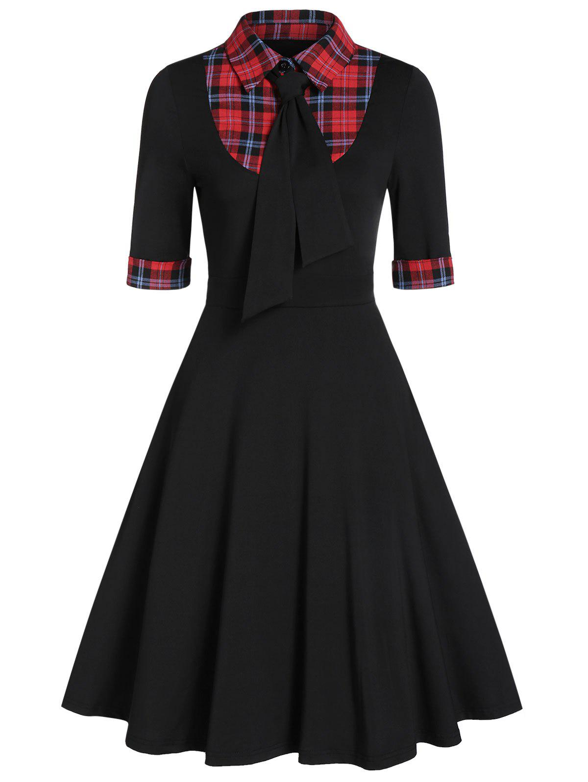 Fashion Plaid Panel High Waist Fit And Flare Dress