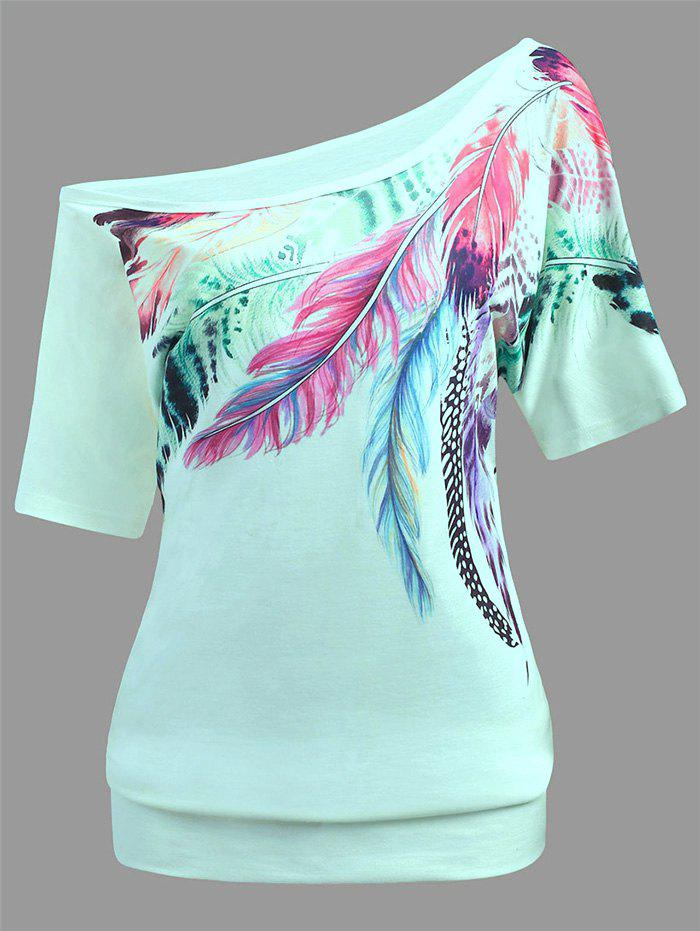 Trendy Feather Print Skew Neck Casual Tee