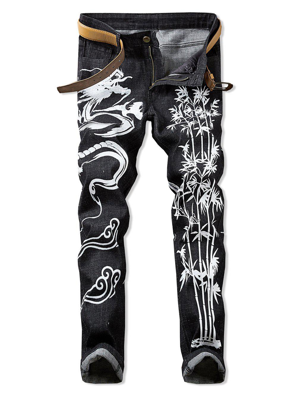 Discount Dragon Print Zipper Fly Casual Jeans