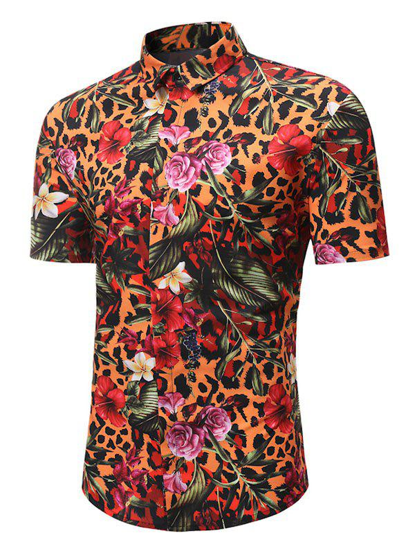 Affordable Leopard Floral Print Button Up Hawaii Shirt