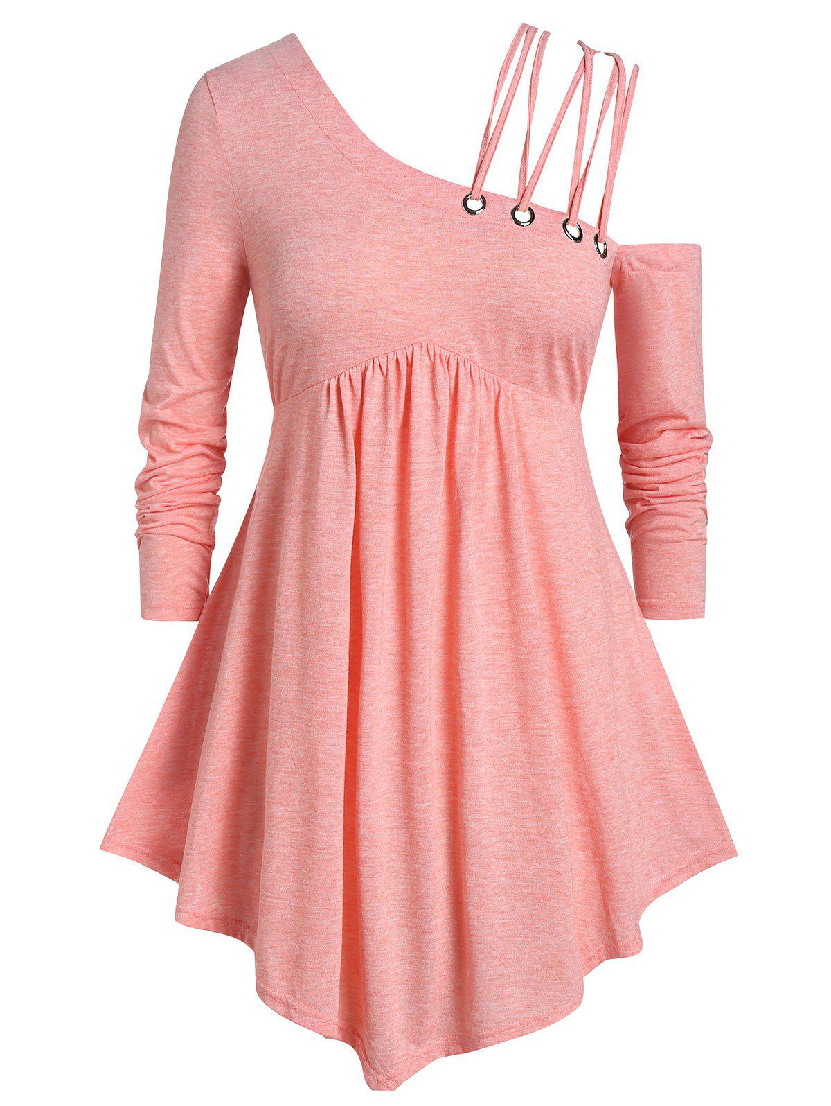 Outfit Plus Size Criss Cross Strappy Skew Neck Peplum T-shirt
