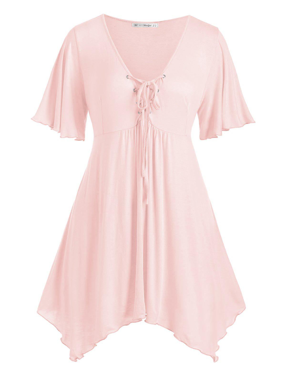 Best Handkerchief Skirted Lace Up Plus Size Top