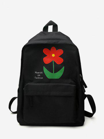Cute Flower Letter Canvas Student Backpack