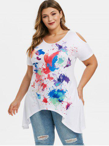 Plus Size Butterfly Ink Painting Cold Shoulder T-shirt
