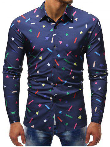 Star Geometric Print Button Up Casual Shirt