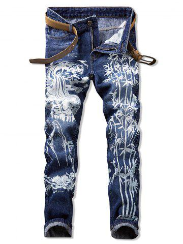 Bamboo Printed Casual Zip Fly Jeans