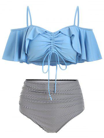 Striped Cinched Ruched Bikini Swimsuit
