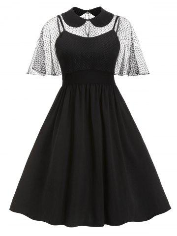 A Line Cami Dress with Peter Pan Collar Mesh Poncho
