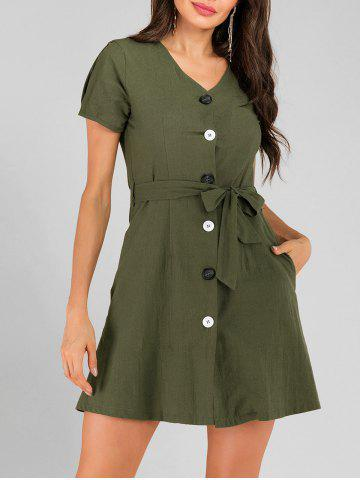 Button Up Pocket Belted Mini Dress