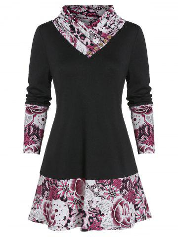 Flower Snakeskin Print Long Sleeve Tunic Tee