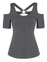 O-ring Cut Out Open Shoulder Tee -