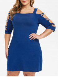 Plus Size Criss Cross Open Shoulder Swing Dress -