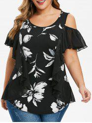 Plus Size Tunic Open Shoulder Floral Print T Shirt -