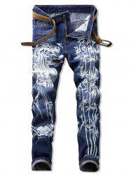 Bamboo Printed Casual Zip Fly Jeans -