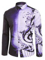 Musical Note Pattern Casual Long Sleeves Shirt -