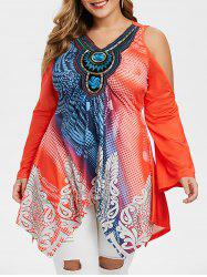 Handkerchief Embroidered Printed Cold Shoulder Plus Size Top -