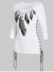 Feather Print Lace Up Long Sleeve T Shirt -