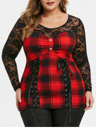 Plus Size Sheer Checked Lace Panel Button T Shirt -