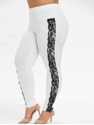 PLus Size High Waisted Contrast Lace Panel Leggings -