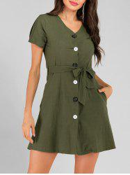 Button Up Pocket Belted Mini Dress -