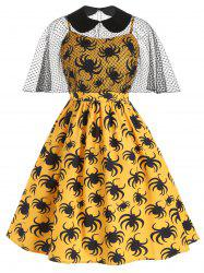 Halloween Spiders Print Plus Size Cami Dress With Cape Top -