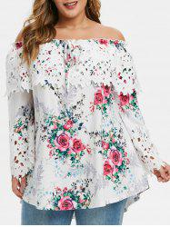 Plus Size Ditsy Print Tunic Tie Off The Shoulder T Shirt -
