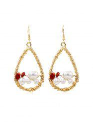 Faux Pearl Embellished Twine Teardrop Dangle Earrings -