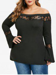 Plus Size Lace Yoke Bell Sleeve Off The Shoulder Top -
