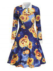 Shirt Collar Sunflower Pumpkin Print Halloween Dress -