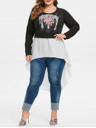 Plus Size High Low Spliced Graphic Sweatshirt -