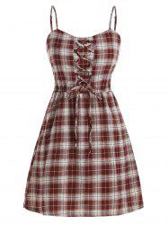 Lace Up Plaid Smocked Back Overlay Romper -