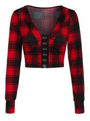 Plaid Crop Long Sleeve Jacket -