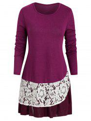 Mesh Lace Panel Long Sleeves Longline Tee -