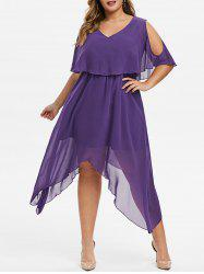 Plus Size Hanky Hem Cold Shoulder Popover Dress -
