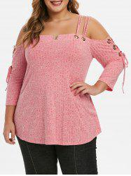 Plus Size Spaghetti Strap Open Shoulder T-shirt -