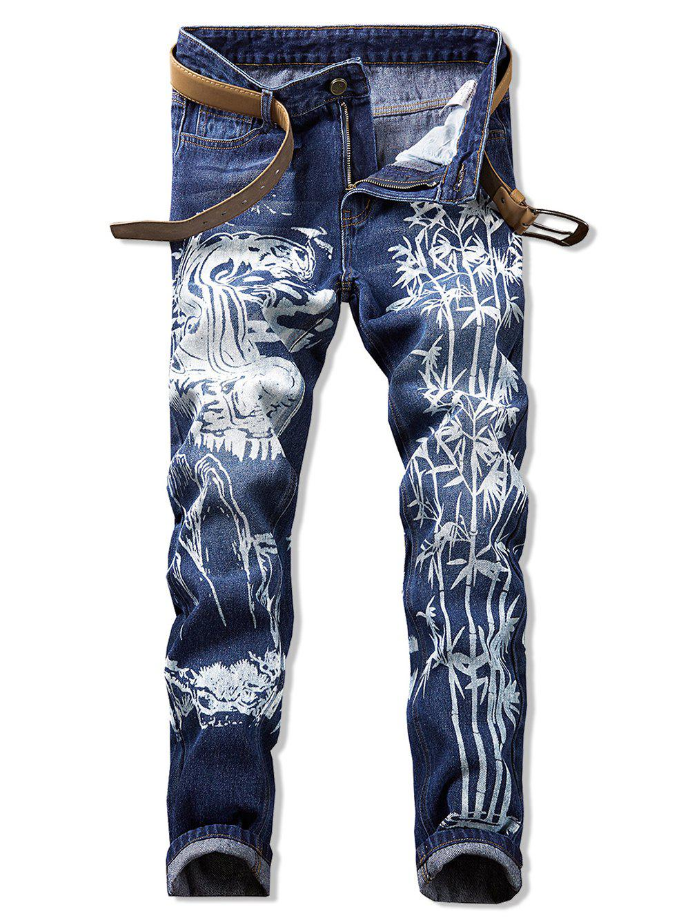 Sale Bamboo Printed Casual Zip Fly Jeans