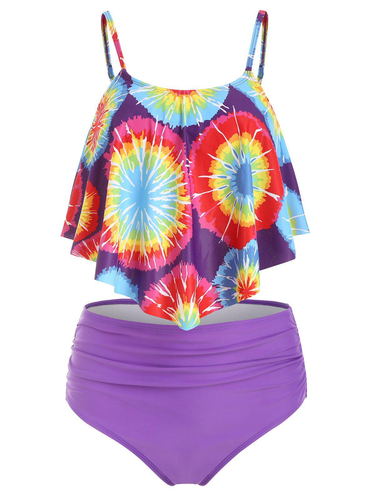 bed41fc26a2 Tie Dye Overlay Padded Tankini Swimsuit