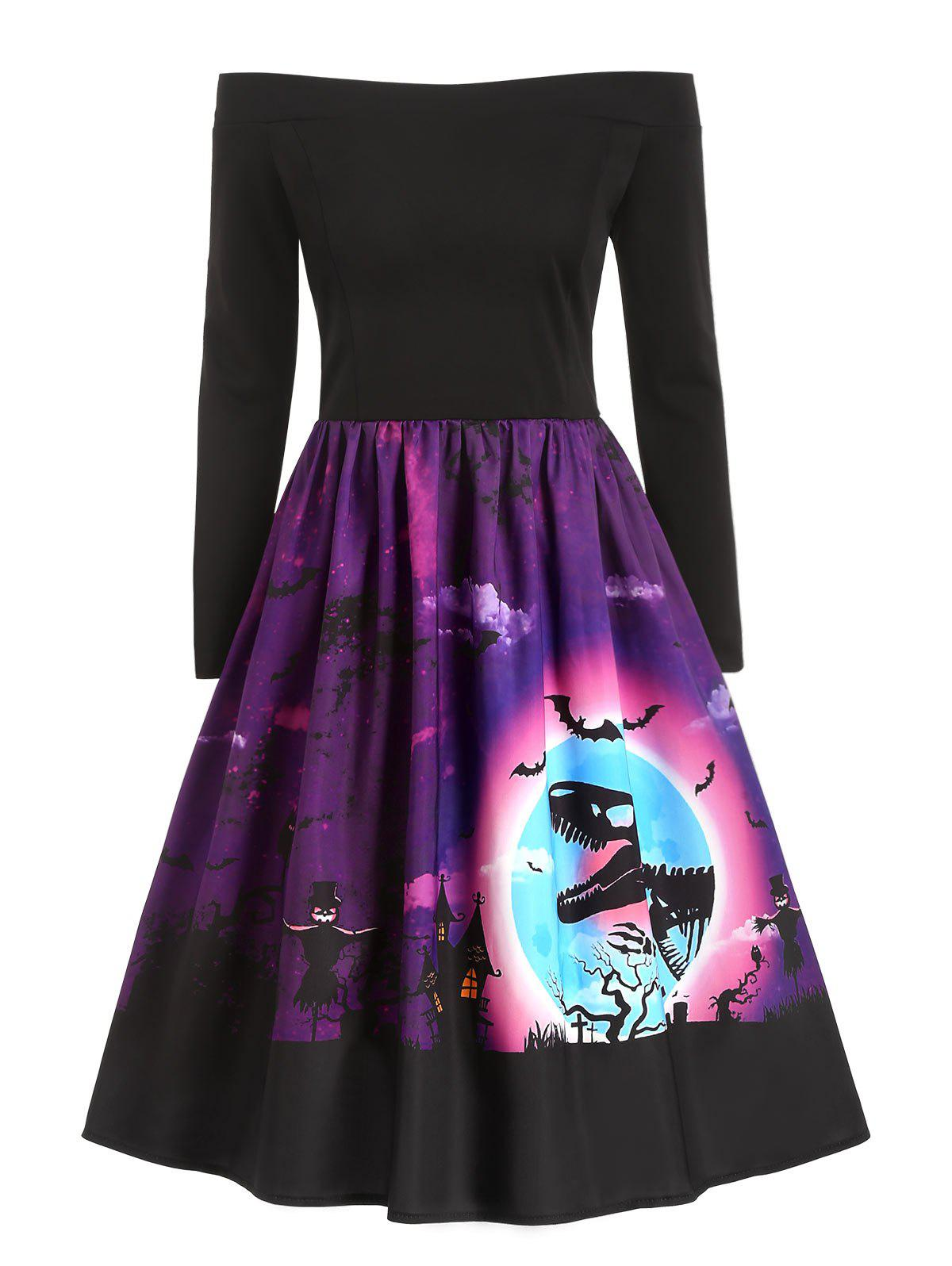 Sale Dinosaur Bat Print Off Shoulder Halloween Dress