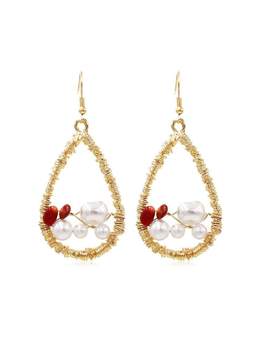 Online Faux Pearl Embellished Twine Teardrop Dangle Earrings