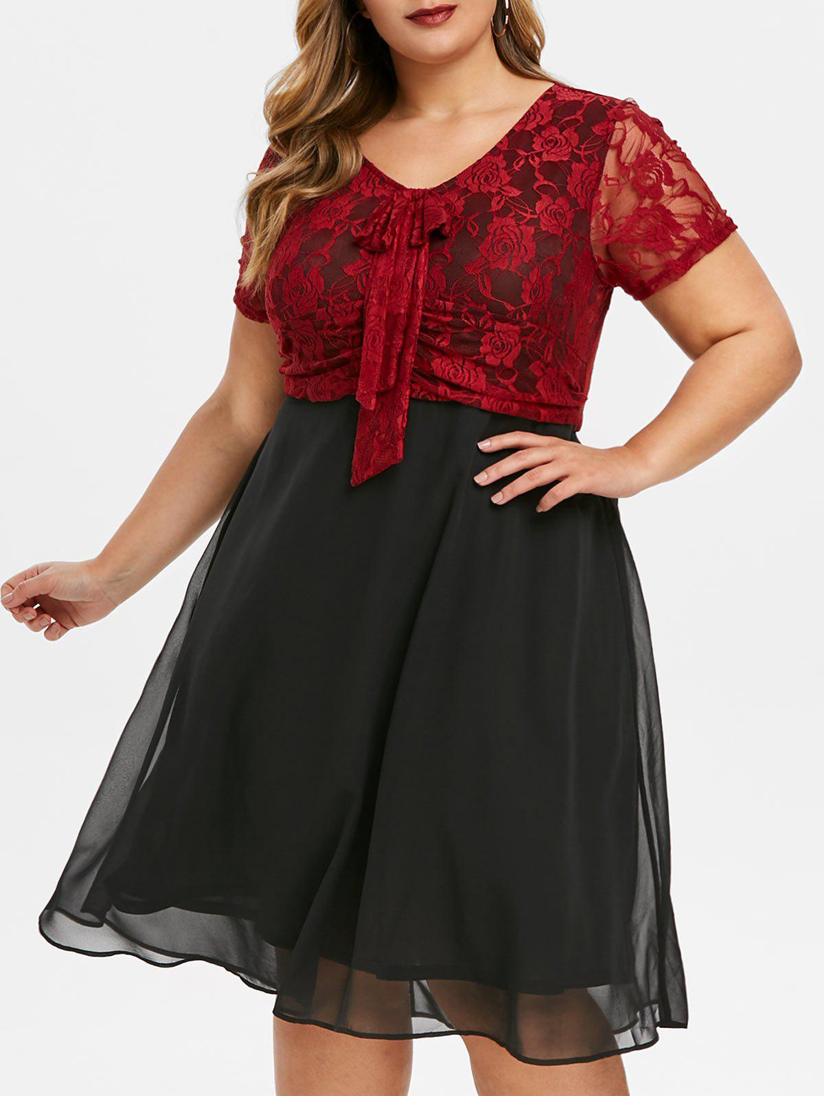 Plus Size Lace Bodice Bowknot Semi Formal Dress