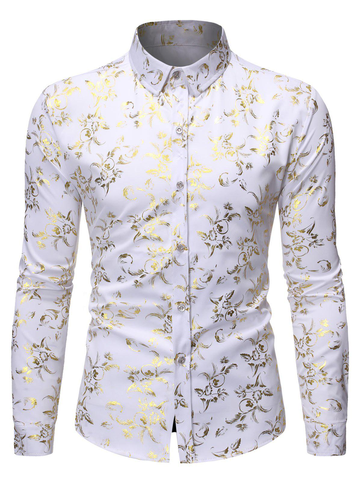 Best Gilding Floral Print Long Sleeves Shirt