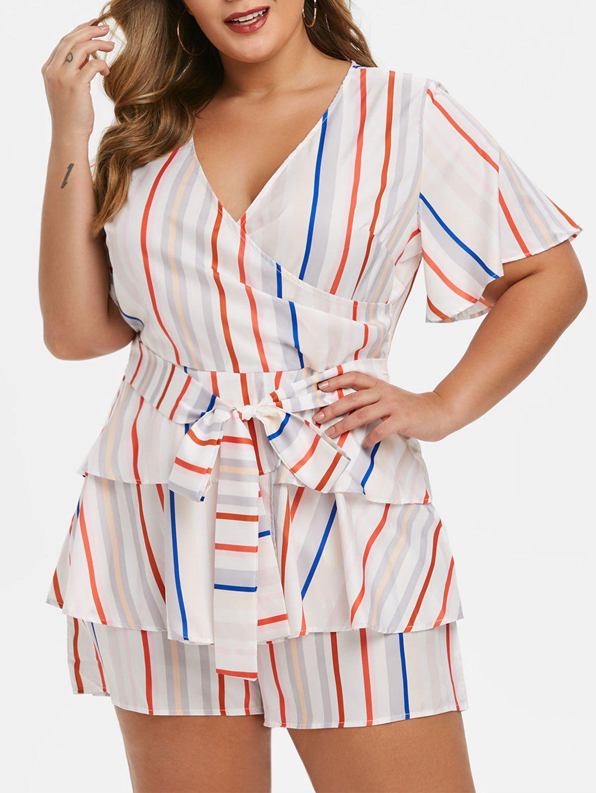 Shop Plus Size Muli Striped Tiered Surplice Romper