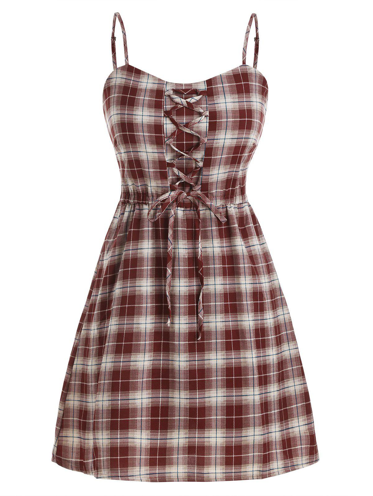 Chic Lace Up Plaid Smocked Back Overlay Romper