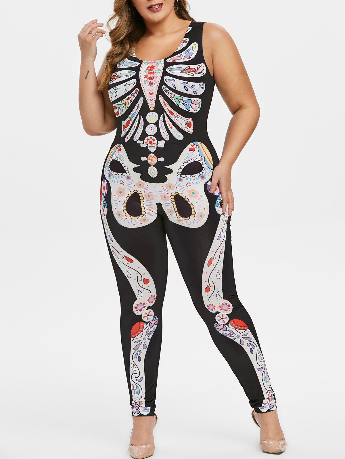 Hot Plus Size Halloween Floral Skeleton Print Gothic Jumpsuit