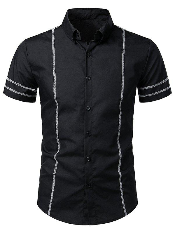 Shops Stitching Decorated Casual Short Sleeves Shirt
