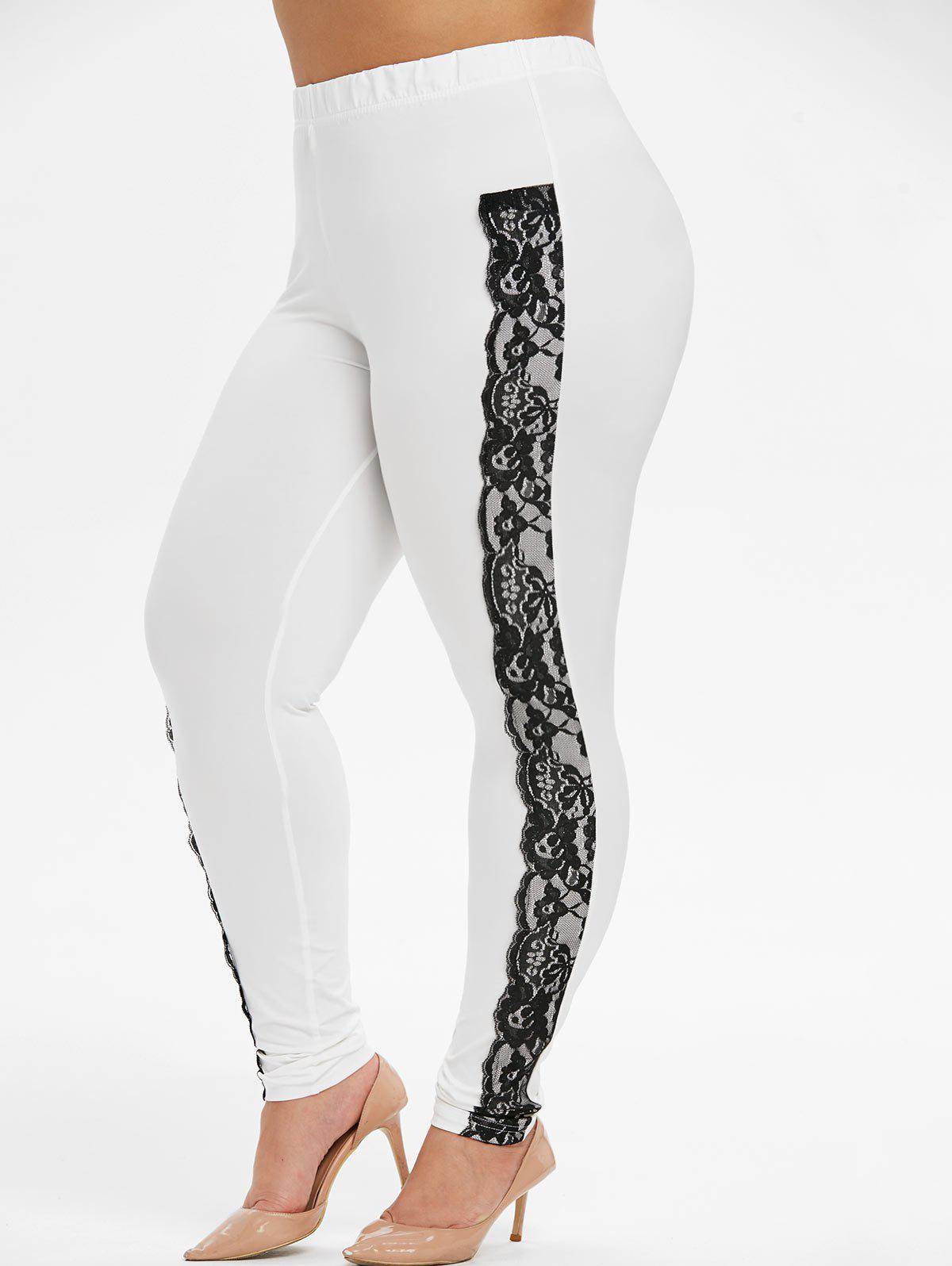 Chic PLus Size High Waisted Contrast Lace Panel Leggings